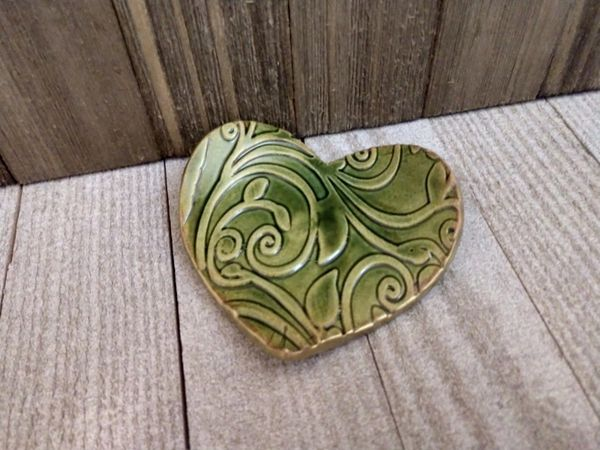 Hand Built Pottery Ring Dish Green Heart Vines