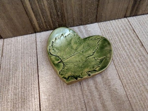 Hand Built Pottery Ring Dish Green Heart Grape Leaf