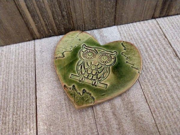 Hand Built Pottery Ring Dish Green Heart Owl