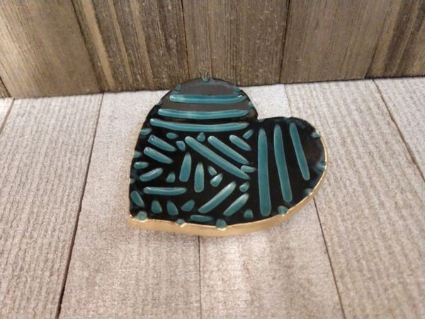 Hand Built Pottery Ring Dish Black Heart Carved Teal Confetti