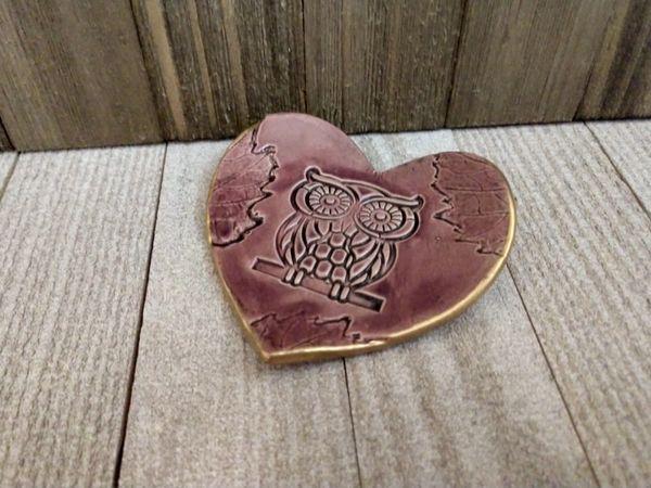 Hand Built Pottery Ring Dish Purple Heart Owl
