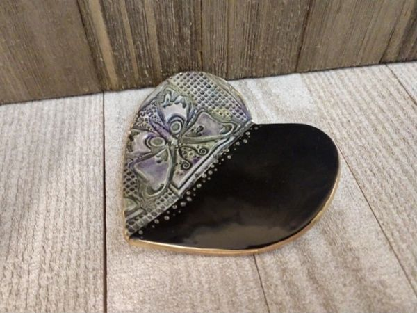 Hand Built Pottery Ring Dish Black Heart Purple Green Butterfly