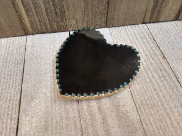 Hand Built Pottery Ring Dish Black Heart Carved Teal Edging