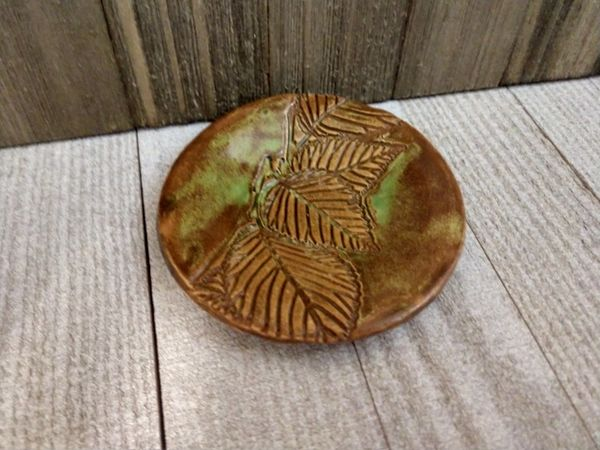 Hand Built Pottery Ring Dish Autumn Leaves