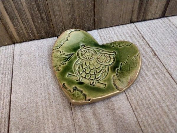 Hand Built Pottery Ring Dish Green Heart Owl Branch