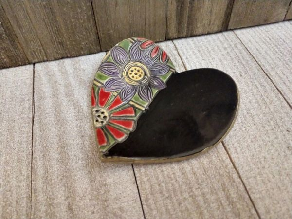 Hand Built Pottery Ring Dish Black Heart Bright Flowers