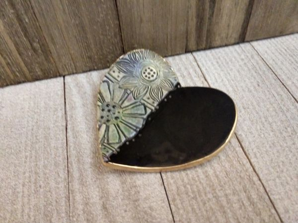 Hand Built Pottery Ring Dish Black Heart Watercolor Flowers