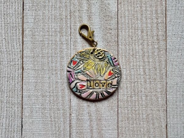 Hand Built Pottery Tag A Long Token with Clasp 1