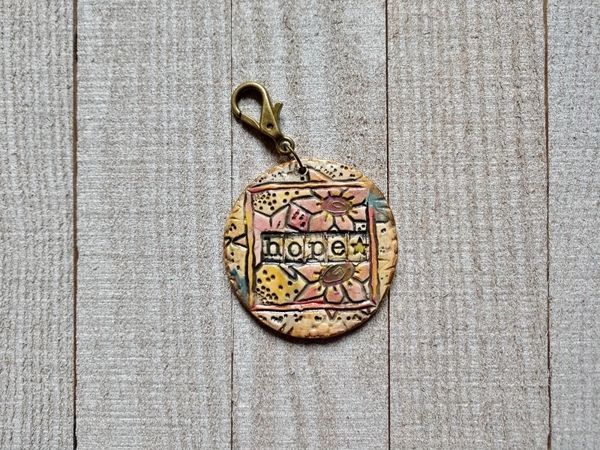 Hand Built Pottery Tag A Long Token with Clasp 2