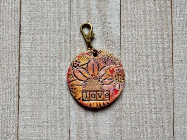 Hand Built Pottery Tag A Long Token with Clasp 4