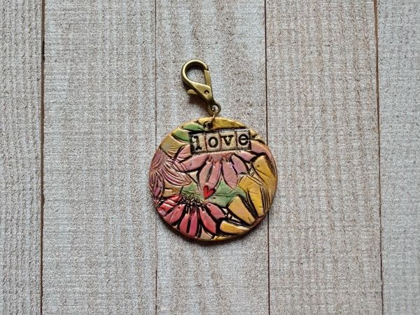 Hand Built Pottery Tag A Long Token with Clasp 7