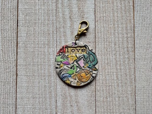 Hand Built Pottery Tag A Long Token with Clasp 9