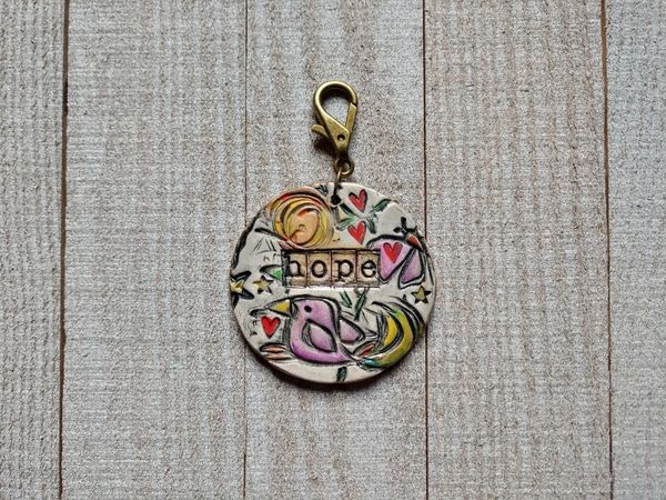 Hand Built Pottery Tag A Long Token with Clasp 10