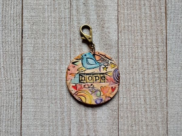 Hand Built Pottery Tag A Long Token with Clasp 11