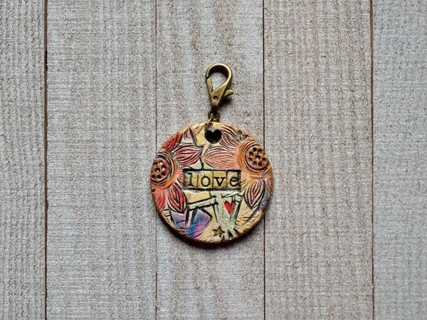 Hand Built Pottery Tag A Long Token with Clasp 12