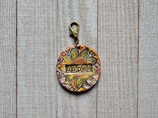 Hand Built Pottery Tag A Long Token with Clasp 14