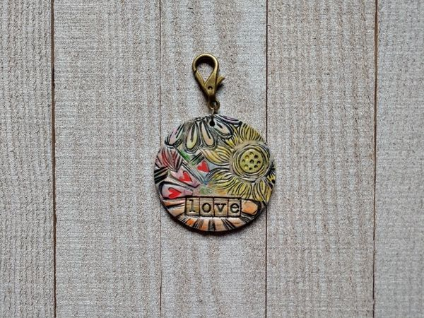 Hand Built Pottery Tag A Long Token with Clasp 15