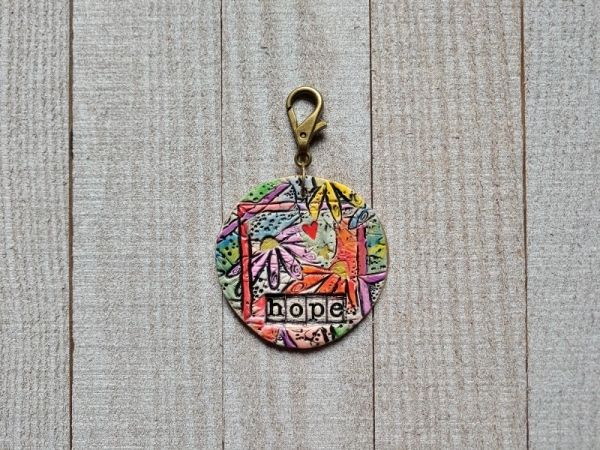 Hand Built Pottery Tag A Long Token with Clasp 16