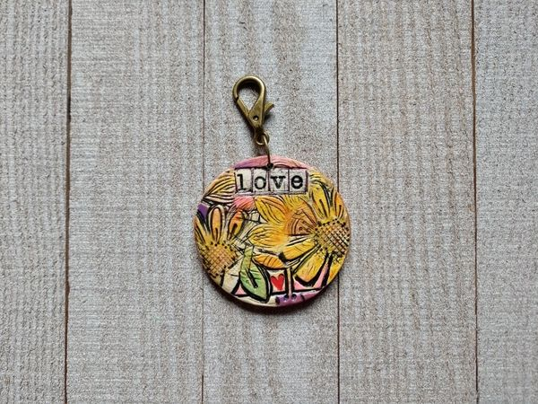 Hand Built Pottery Tag A Long Token with Clasp 17