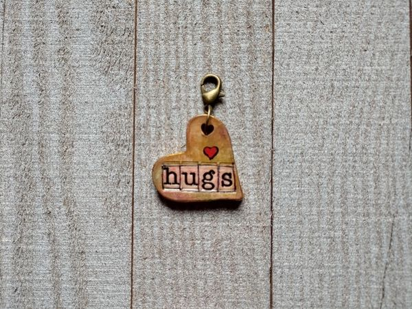 Hand Built Pottery Dangle Token with Clasp 3