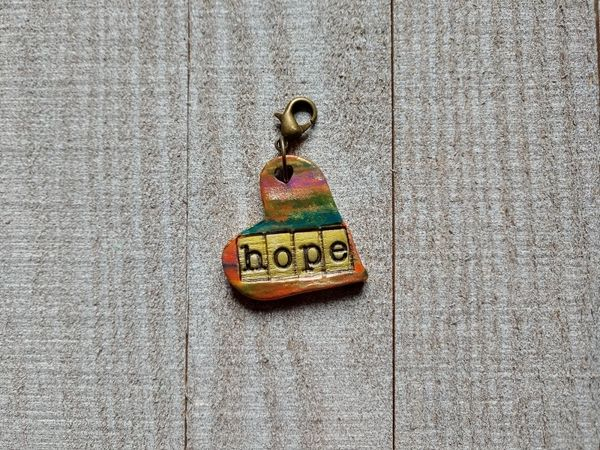 Hand Built Pottery Dangle Token with Clasp 5