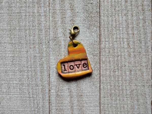 Hand Built Pottery Dangle Token with Clasp 6