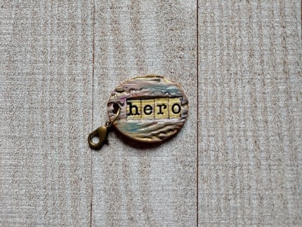 Hand Built Pottery Dangle Token with Clasp 14