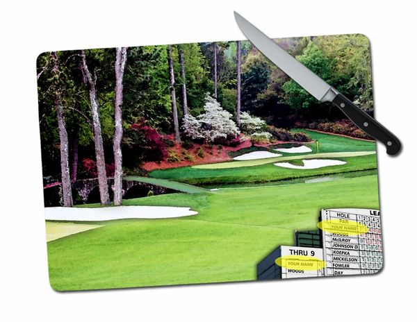 PERSONALIZED Augusta Masters Golf Large Tempered Glass Cutting Board
