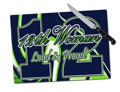 Seahawks 12th Woman Large Tempered Glass Cutting Board