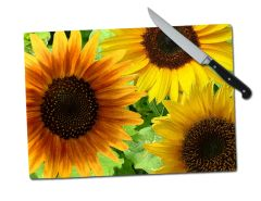 Sunflower Large Tempered Glass Cutting Board