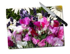 Sweet Pea Lavender Daisy Large Tempered Glass Cutting Board