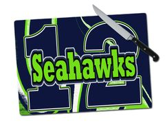 Seahawks 12 Large Tempered Glass Cutting Board