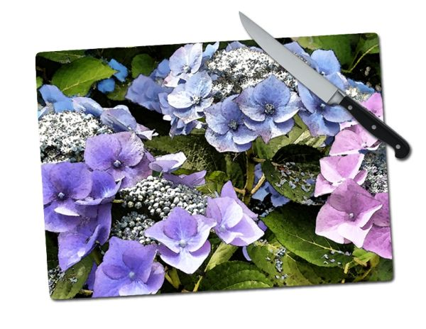 Hydrangea Large Multi Tempered Glass Cutting Board