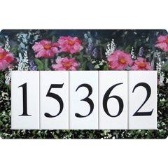 Pink Flower Address Sign Large