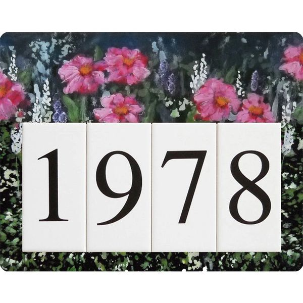 Pink Flower Address Sign Small
