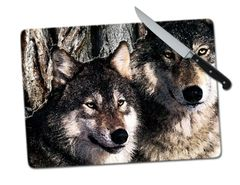 Wolves Large Tempered Glass Cutting Board