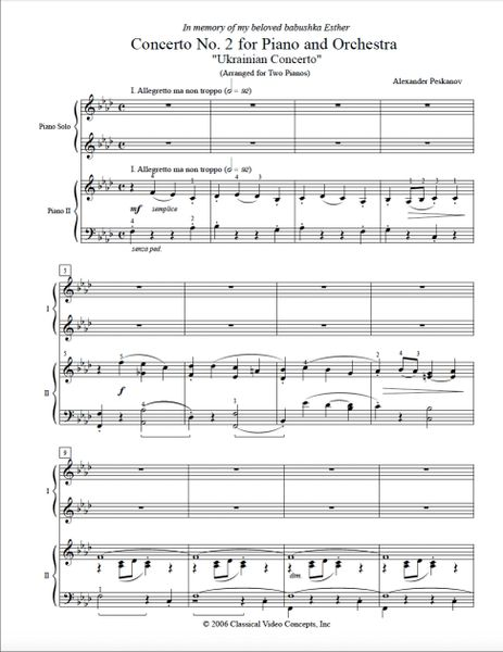 Piano Concerto No. 5 (Arranged for 2 Pianos) e-Print