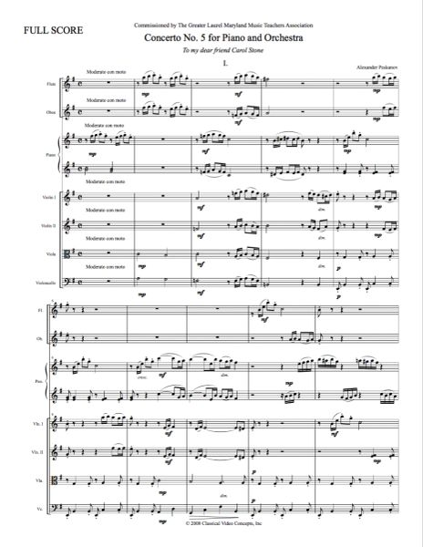 Piano Concerto No. 5 (Orch. Score & Parts) e-Print