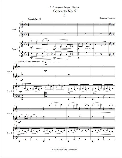 Piano Concerto No. 9 (Arranged for 2 Pianos) e-Print