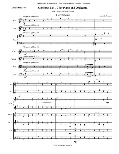 Piano Concerto No. 10 (Orch. Score & Parts) e-Print