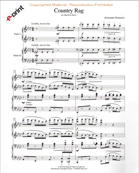 Country Rag (2 Pianos, 4 Hands) e-Print