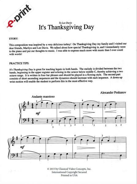 It's Thanksgiving Day (e-Print)