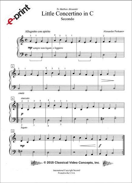 Little Concertino in C (4 Hands) e-Print