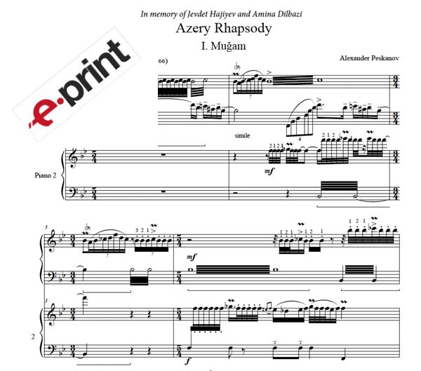 Azery Rhapsody (complete) Arranged for 2 Pianos