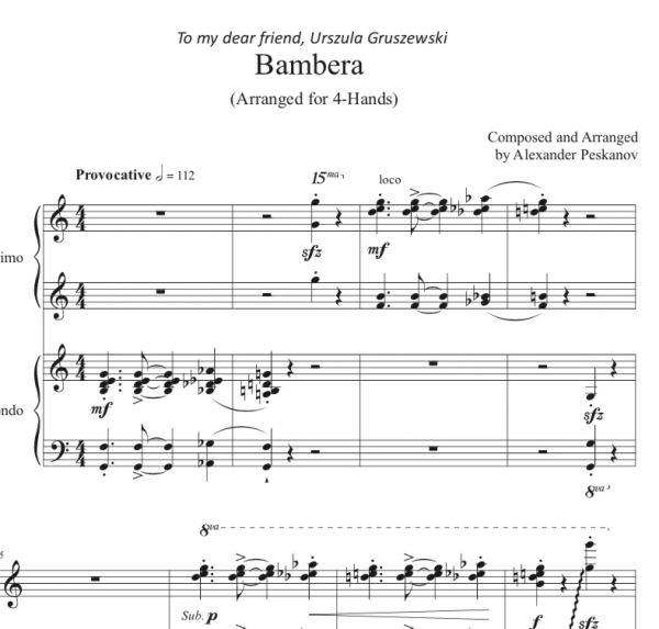 Bambera (1 Piano, 4-Hands) Arranged by A. Peskanov