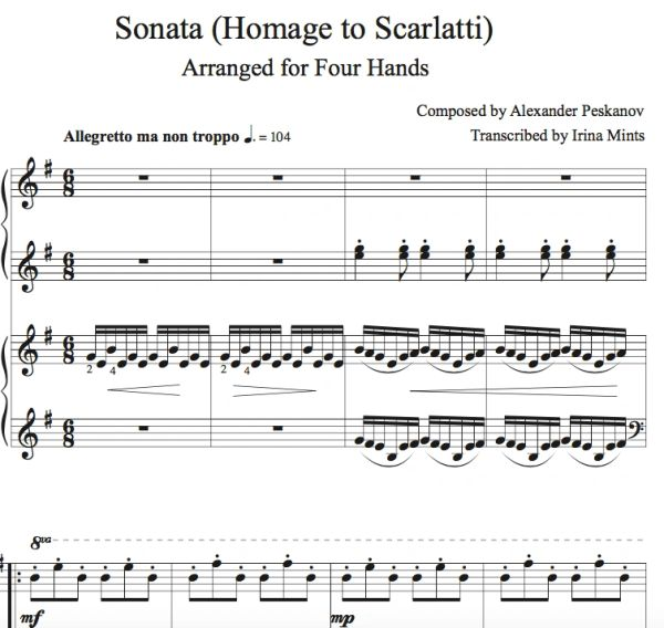 Sonata (Homage to Scarlatti) Digital (Arr. by Irina Mints for 2 Pianos/4-Hands)