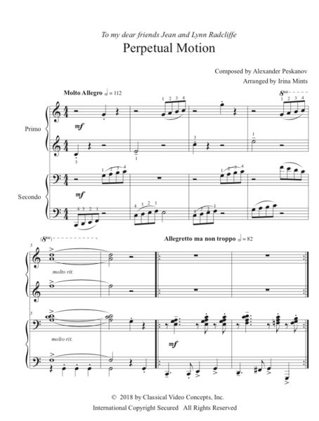 Perpetual Motion (1 Piano, 4-Hands), Arr. by Irina Mints