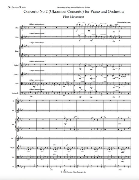 Piano Concerto No. 2 (Orch. Score & Parts) e-Print
