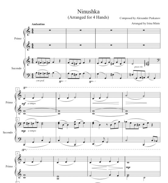 Ninushka (1 Piano, 4-Hands), Arr. by Irina Mints