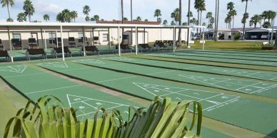 Huge area of shuffleboard courts provide opportunity for many games simultaneously!